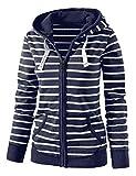 Chigant Damen Kapuzenpullover Sweatshirt Sweatjacke Streifen Patchwork Jacke für Herbst Winter