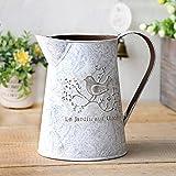VANCORE Französisch Stil Weiß Shabby Chic Mini-Metall-Pitcher Blumen-Vase mit Vintage Vogel...