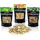 BBQ Räucherchips Mix: jeweils 1x Buchen-, Apfel- und Kirsch-Räucherchips