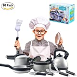 Waroomss 10 Stück Geschirr Spielzeug, Pretend Play Küche spielen Essen Töpfe und Pfannen und Tea...