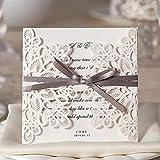 Wishmade Einladungskarten Für Hochzeit Geburtstag Taufe Weiß Blumen Lasercut Design Mit Schleife...