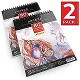Arteza Zeichenblock — Malblock mit Spiralbindung — Weißes Din A4 Zeichenpapier — 80 Blätter...