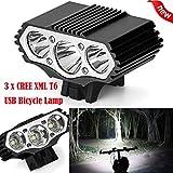 Eisen Armor Super helle Bike Head Light Front-Taschenlampe Wasserdicht, tianranrt 12000lm 3CREE...