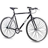 28' Zoll FIXIE RENNRAD URBANRAD SINGLE SPEED KCP FG1 FLAT 2016 FIXED GEAR schwarz, Rahmengröße:56...