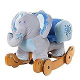 Labebe Baby Schaukelpferd Holz mit Räder, 2-in-1 Schaukelpferd Dino Grün für Baby 1-3 Jahre Alt,...