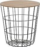 Design Beistelltisch - Metall Korb mit Holz Deckel - dekorativer Sofatisch inkl. Korbablage