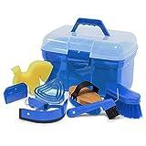 Putzbox Putzkiste befüllt mit Zubehör für Pferde Farbe: azurblau| Putzkasten | Putzkoffer Putzbox...