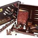 Peradix Backgammon - Schachspiel Schach - Dame 3 in 1, 46.6x38.2 Großes Schachbrett, Lederner...