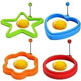 Joyoldelf 4 Stück Silikon Spiegeleiform - Herz, Stern, Kreis, Blume Eierformen mit verstellbarem...