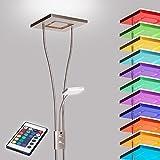 Deckenfluter LED mit RGBW Farbwechsel   Stehleuchte inkl. Fernbedienung   Stehlampe + Leselampe  ...