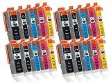 20 Druckerpatronen mit Chip und Füllstandsanzeige kompatibel zu Canon PGI-550 / CLI-551 (4x Schwarz...