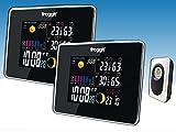 Funk Farb Wetterstation Froggit WS50 TWIN (2 Displays) inkl. 1 Funk Thermo-Hygrometer Außensensor,...