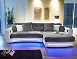 Multimedia Sofa Larenio HiFi Wohnlandschaft 322x200 cm grau weiß Couch Mikrofaser Hi Fi LED...
