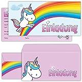 Einhorn Einladungskarten mit Umschlägen (12er Set) zum Kindergeburtstag von BeriluDesign | Unicorn...