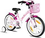 PROMETHEUS Mädchenfahrrad 16 Zoll in Rosa & Weiß mit Stützrädern   Seitenzugbremse und...