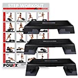 POWRX Profi Aerobic Fitness Step inkl. Workout I Steppbrett Stepper Stepbench I Maße: 89 cm x 34 cm...