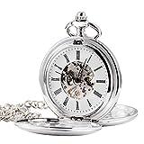 TREEWETO Retro Handaufzug Herren Mechanische Taschenuhr Silber Doppelabdeckungen Skelett Uhr...
