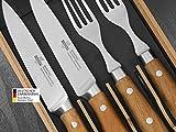 SteakChamp Premium Steakbesteck '4 Musketeer', Deutscher Carbonstahl (rostfrei), 2 Steakmesser und 2...