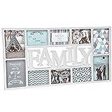 XXL Bilderrahmen Collage mit Schriftzug Family für 10 Fotos 73x38cm • Fotorahmen Rahmen...