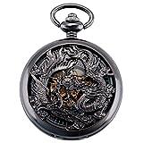 ManChDa® Antik Mechanische Taschenuhr Viel Glück Dragon & Phoenix(Wünsche) Schwarze...
