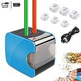 Elektrischer Anspitzer,WILWOLF Automatischer Bleistiftanspitzer mit zwei Löchern, Pencil Sharpener...