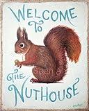 Wandschild, Eichhörnchen-Motiv, Shabby-Chic-Design, mit Aufdruck