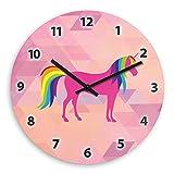 Wanduhr mit Einhorn-Motiv für Mädchen | Kinderzimmer-Uhr | Kinder-Uhr