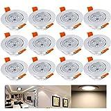 Hengda 12 x 3W Warmweiß Alu-matt LED Einbauleuchte Deckenbeleuchtung SMD Energiespar Decken...