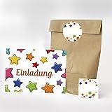 16 Einladungskarten, 16 Geschenktüten und 16 Etiketten zum Kindergeburtstag - Motiv Sterne...