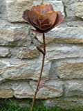Gartenstecker Dekoblume ROSE Metall Edelrost ca. 80 cm x 12cm DM10478