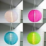 4er Set LED Solar Lampion Garten Deko blau grün pink weiß Miami Lights4fun