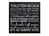 HOLZBLOCK Shabby TOILETTEN-REGELN * Schwarz * Bad Vintage Deko Spruch Einzug