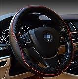 Lenkradbezug aus Leder, universal passend, atmungsaktiv, rutschfest, Lenkradschutz (schwarz/rot)