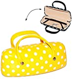 2 in 1 __ Brillenetui / kleine Tasche für Utensilien - ' gelb mit Punkten ' - Hardcase / Hartschale...