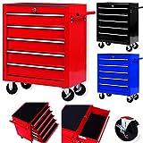 Masko Werkstattwagen - 5 Schubladen, rot  Abschließbar  Massives Metall | Mobiler Werkzeug-Wagen...