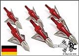 6x Pfeilspitzen rot Jagdspitzen Armbrust Bogen Alu mit 3 Klingen aus 430 Edelstahl 6x Pfeilspitze...