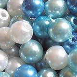 Glasperlen A0982, 6mm, Blautöne, gemischt, 100 Stück