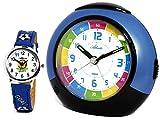 Kinderwecker ohne Ticken mit Armbanduhr Kinder Blau - Atlanta 1678-5 KAU