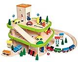 Auto Garage / Parkhaus - mit 3 Ebenen aus Holz - incl. Auto + Figuren - Autos - Holzeisenbahn /...