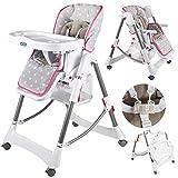Kinderhochstuhl Babyhochstuhl Babystuhl Kinderstuhl KP0005 Höhenverstellbar (6 Positionen und...