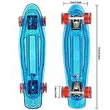 Hikole Skateboard 22' Polycarbonat Kunstsoff Cruiser Pro Street Skate Board mit LED Blinkende Rollen...