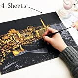 BIEE,Scratch Art Kratzbilder Scratch Paper Scratch Boards Schwarz Beschichtet Kunst Doodle Pad...