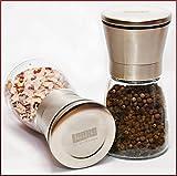 Laaks® Premium Salzmühle / Pfeffermühle im Set. Gewürzmühle aus Edelstahl und echtem Glas in...