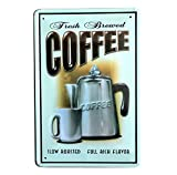 Lumanuby 1x Retro Cafe Metall Zeichen Wandposter von Kaffee Wasserkocher und Tasse mit Wort 'Fresh...