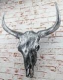 XXL Deko Bullenschädel silber Stierkopf Figur Skullptur Wandfigur 65 cm Geweih Stier Hörner Bulle
