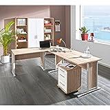 komplettes Arbeitszimmer mit Winkelschreibtisch Eckschreibtisch Schreibtisch Home Office Komplettset...