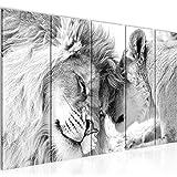 Bilder Löwen Liebe Wandbild 200 x 80 cm - 5 Teilig Vlies - Leinwand Bild XXL Format Wandbilder...