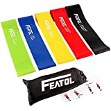Featol Fitnessbänder 5 Set, Gymnastikband für Fitness Crossfit Pilates Yoga und Physiotherapie,...