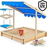 Sandkasten Spielhaus Holz Sandbox Sandkiste Kinder 140x140cm mit höhenverstellbarem und neigbarem...
