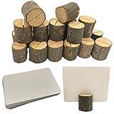 Aisamco 20 Stück Rustikale Holz Tischkartenhalter Holzrinde Memo Halter Stand Karte Foto Bild...